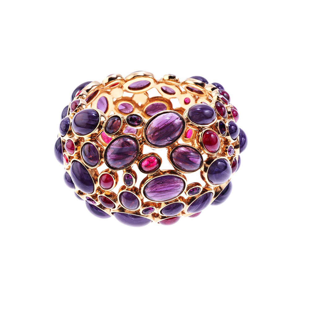 Amphitrite Glass And Crystal Cabochon Bangle - Purple