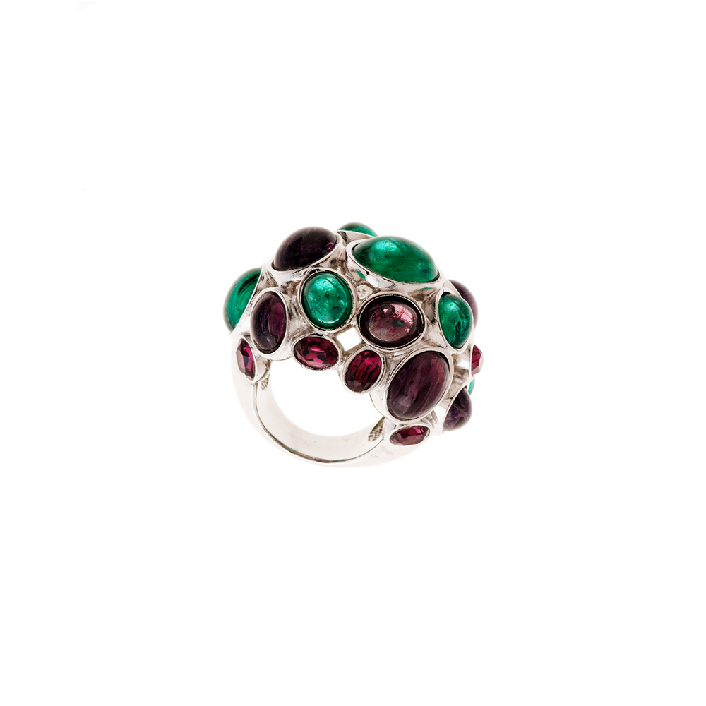 Amphitrite Glass And Crystal Cabochon Ring - Green - Medium