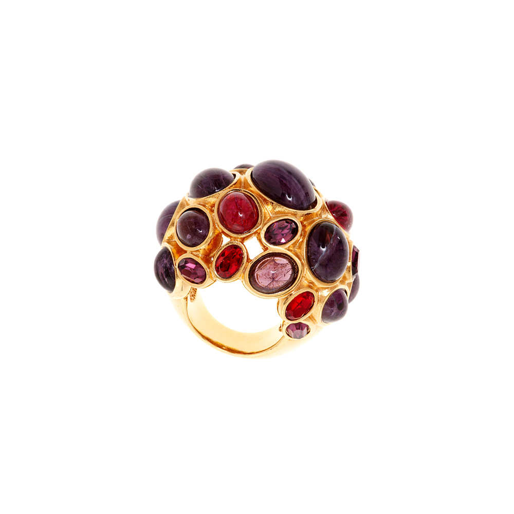Amphitrite Glass And Crystal Cabochon Ring - Purple - Large