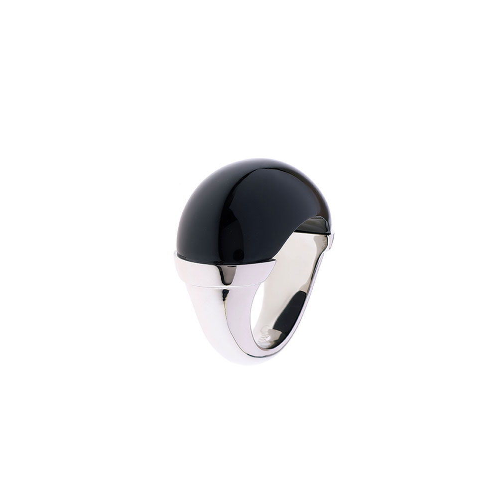 Maia Stainless Steel Domed Ring - Black - Medium