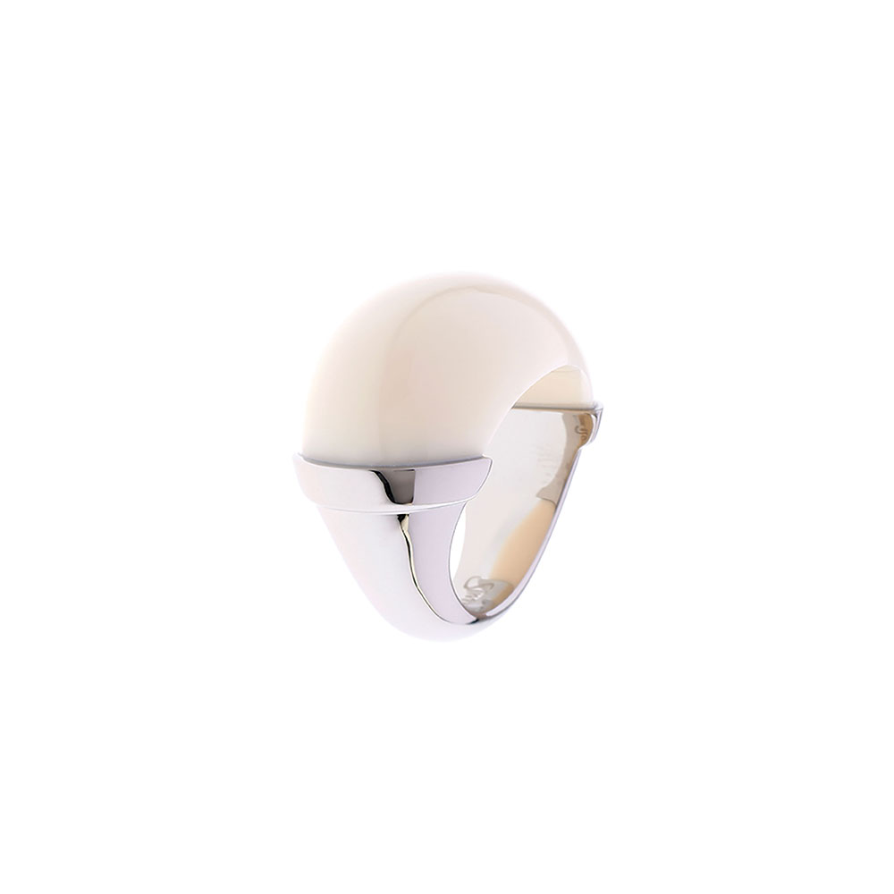 Maia Stainless Steel Domed Ring - Cream - Large