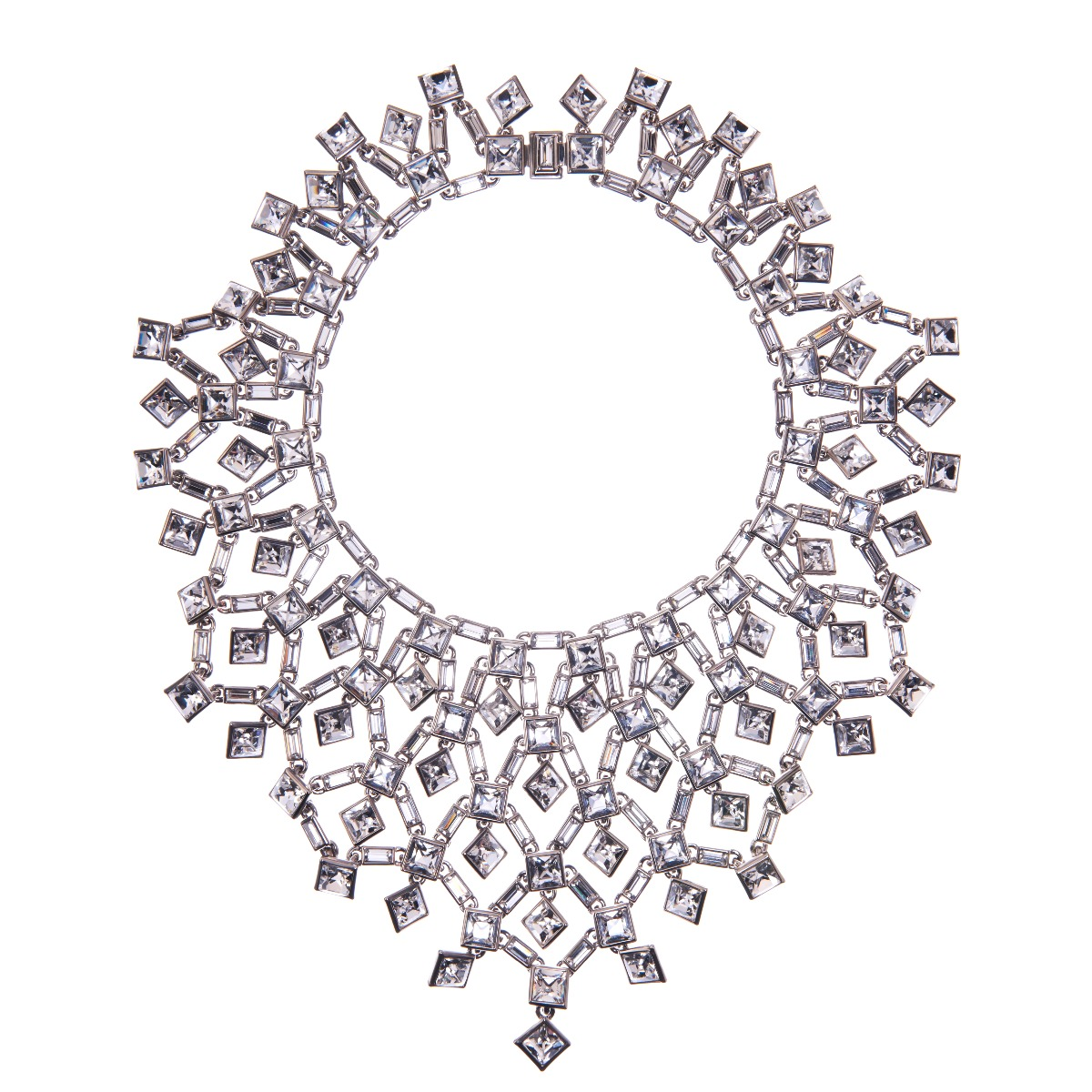 Claudette Square Crystal Cluster Large Necklace - Clear
