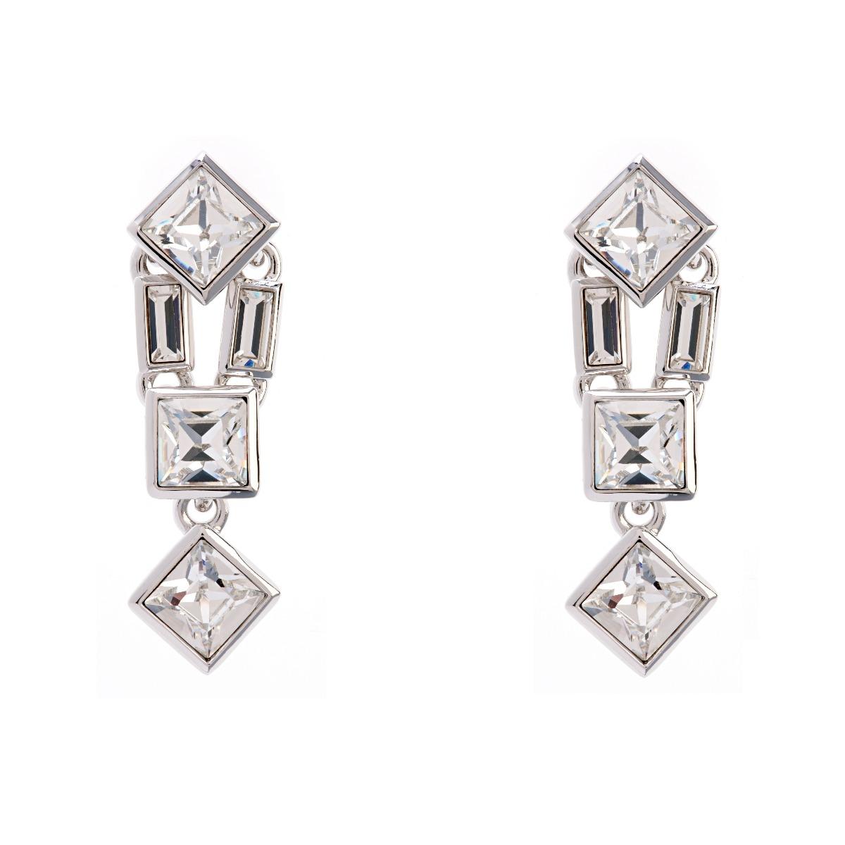 Claudette Square Crystal Medium Drop Earrings