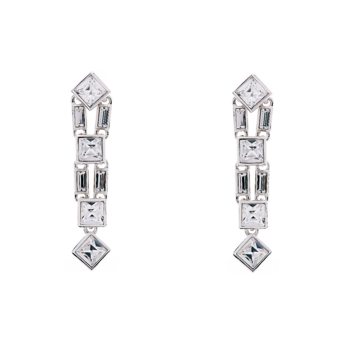 Claudette Square Crystal Cluster Long Drop Earrings