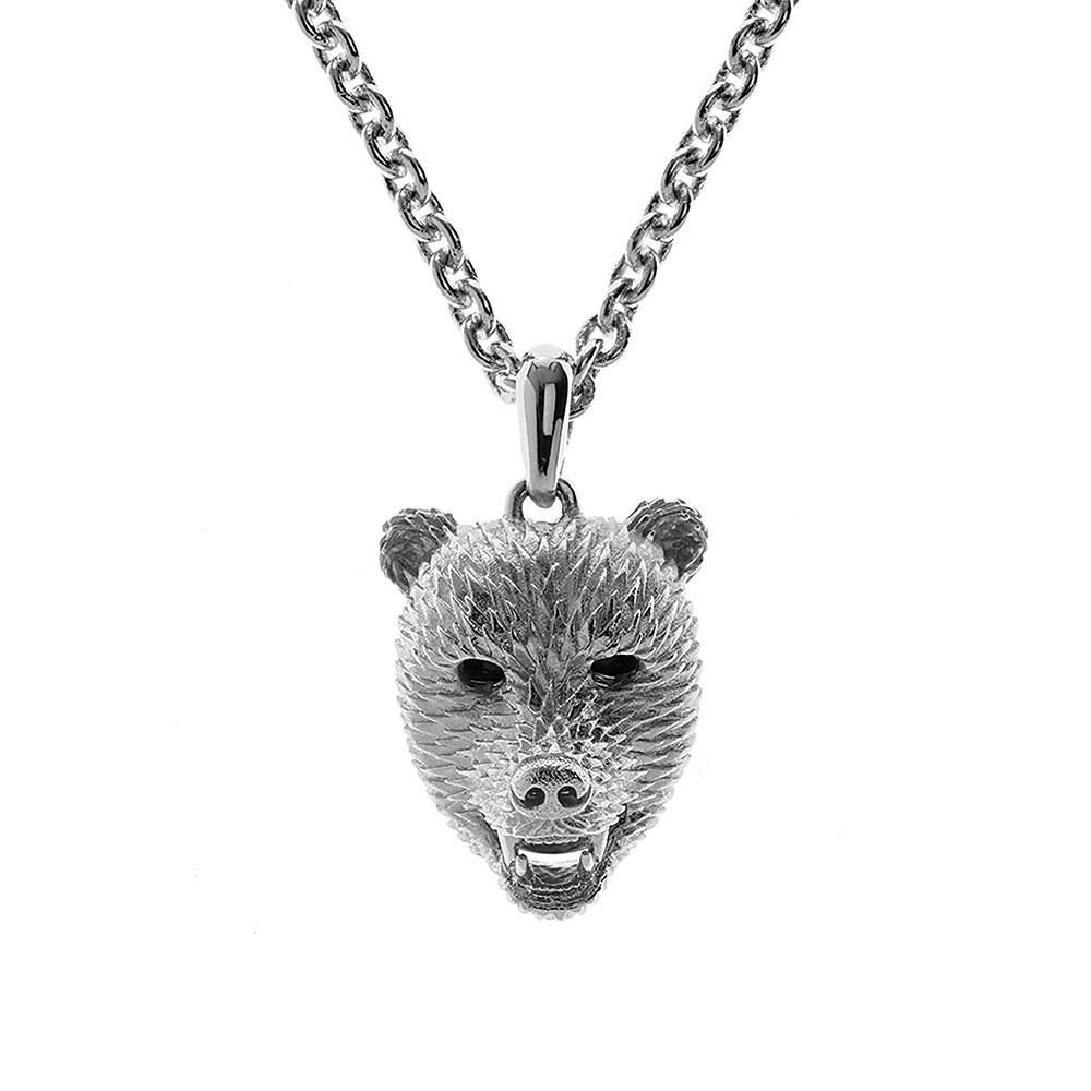Dionysus Bear Pendant - Silver
