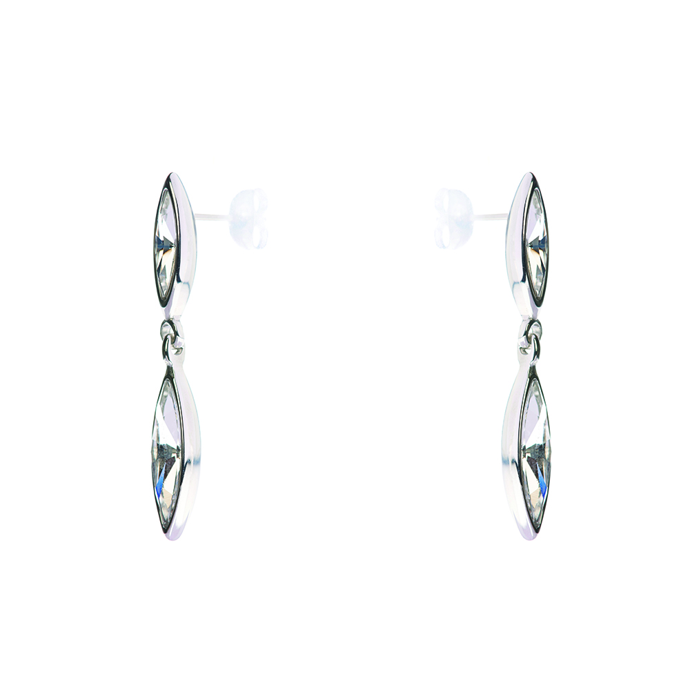 Minerva Navette Crystal Drop Earrings