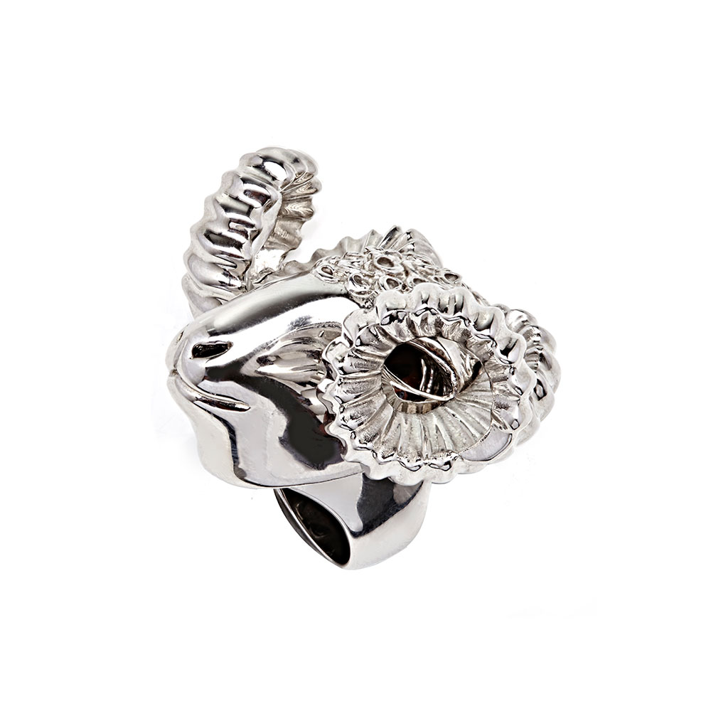 Dionysus Ram Ring - Silver