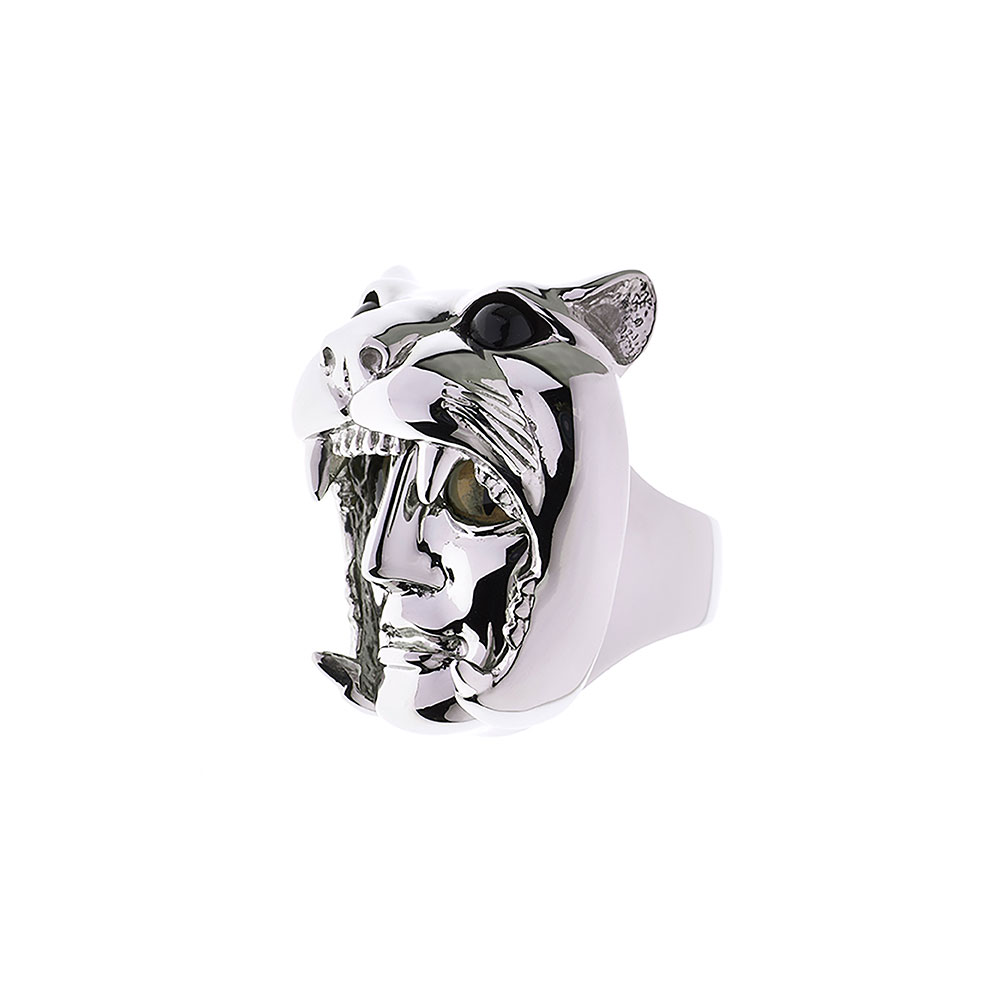 Dionysus Leopard Ring - Silver - Large