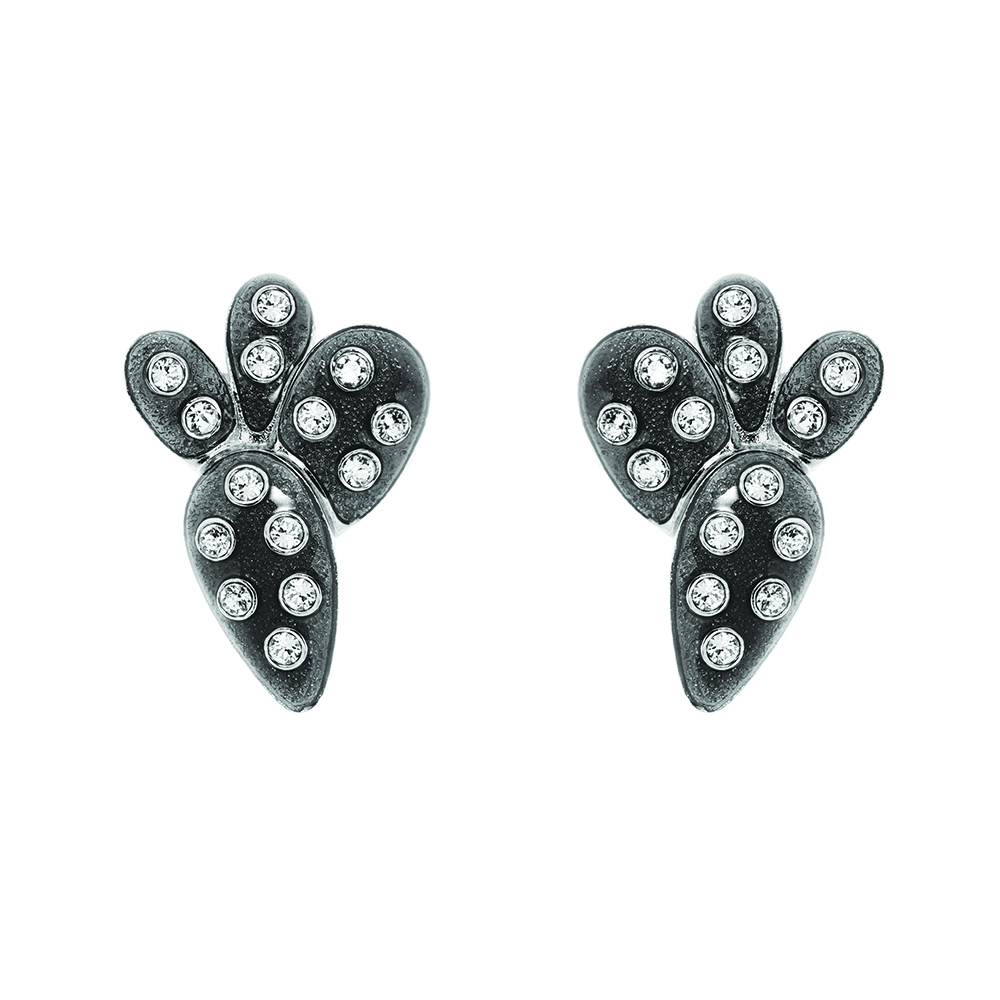 Kahlo Clip Earrings - Black Diamond