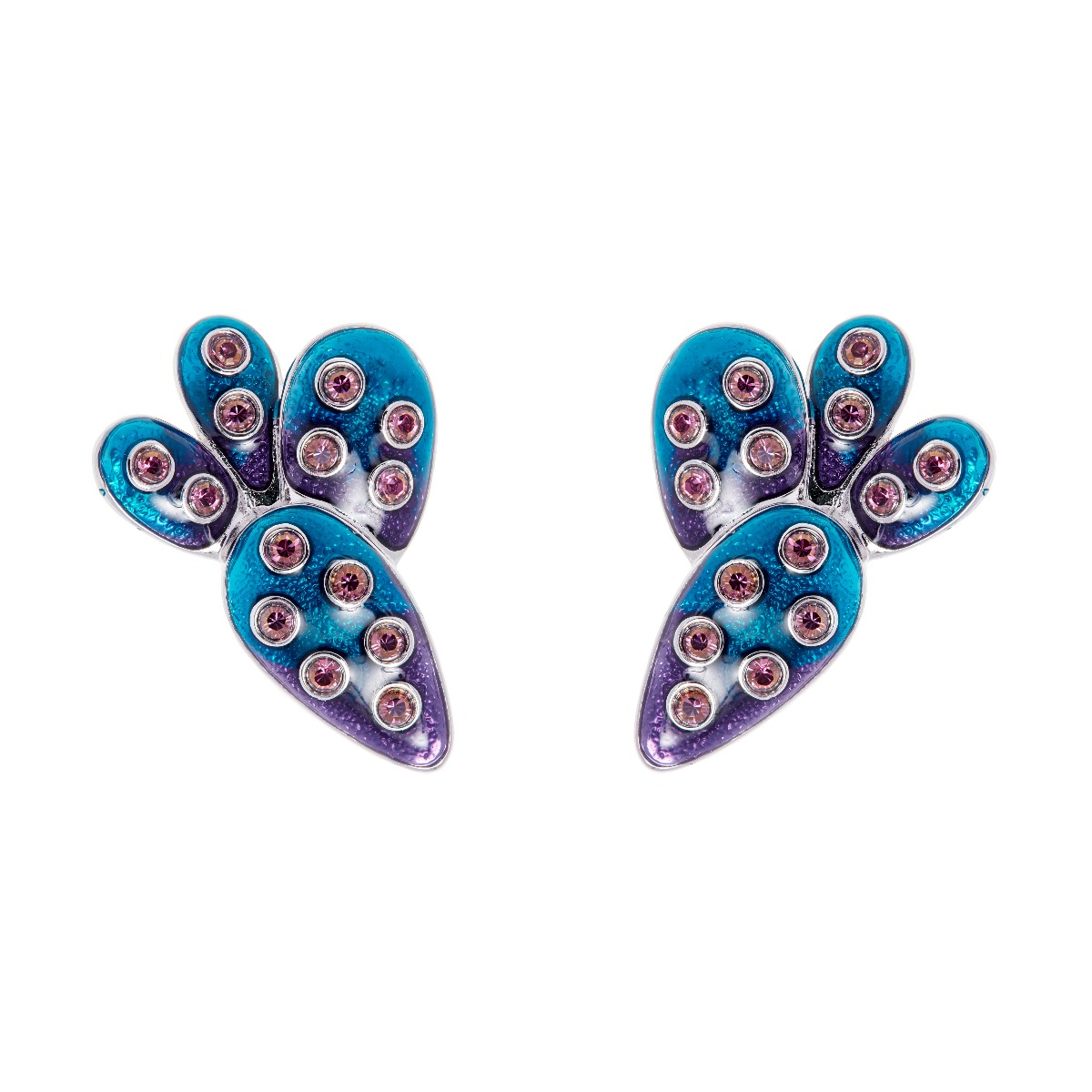Kahlo Clip Earrings - Blue Ombre