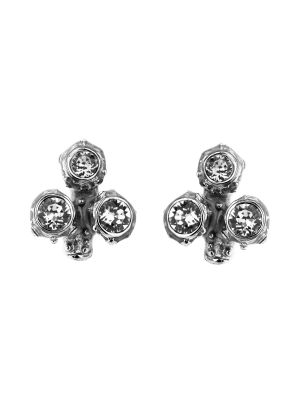 Coral Crystal And Enamel Small Cluster Earring - Black