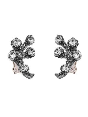 Coral Crystal And Enamel Small Branch Earring - Black