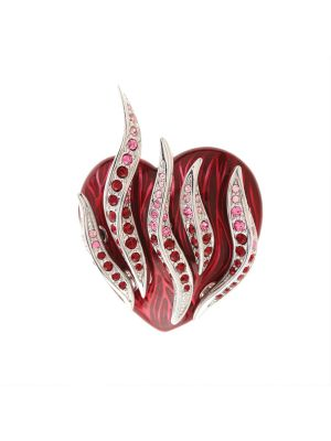 Flaming Heart Enamel And Crystal Brooch - Red