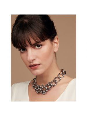 Coral Crystal And Enamel Chain Necklace - Black