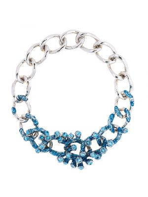 Coral Crystal And Enamel Chain Necklace - Light Blue