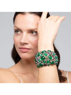 Amphitrite Glass And Crystal Cabochon Bangle - Green