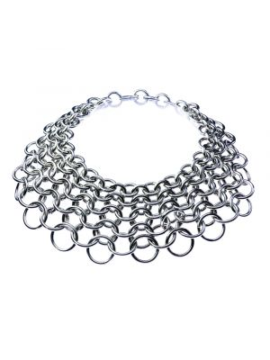 Joan Small Chain Mail Necklace - Silver