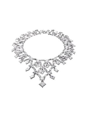 Claudette Square Crystal Cluster Small Necklace - Clear
