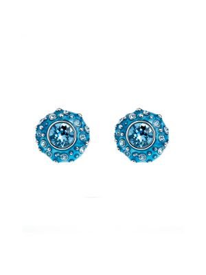 Coral Crystal And Enamel Stud Earring - Light Blue