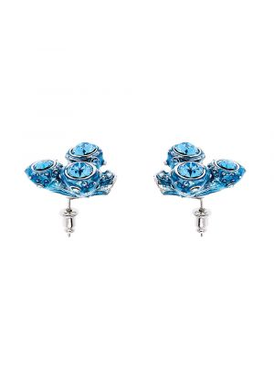 Coral Crystal And Enamel Small Cluster Earring - Light Blue
