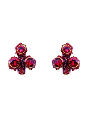 Coral Crystal And Enamel Small Cluster Earring - Red