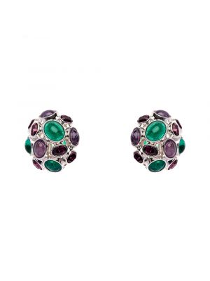 Amphitrite Glass And Crystal Cabochon Earring - Green