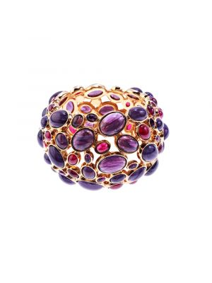 Amphitrite Glass And Crystal Cabochon Bangle - Purple