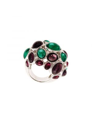 Amphitrite Glass and Crystal Cabochon Ring Green