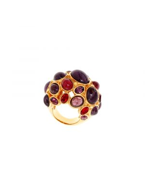 Amphitrite Glass and Crystal Cabochon Ring Purple