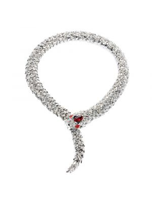 Crystal Snake Necklace - Red