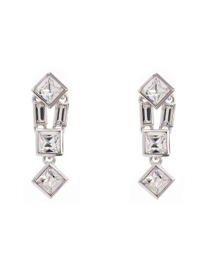 Claudette Square Crystal Medium Drop Earring - Clear
