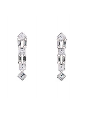 Claudette Square Crystal Cluster Long Drop Earring - Clear