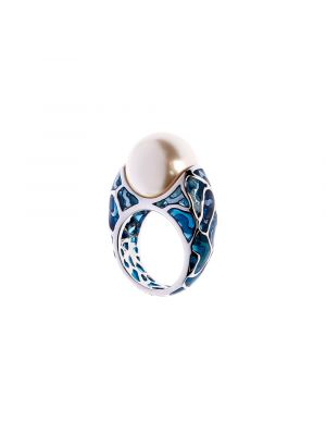 Leto Enamel And Pearl Ring - Blue