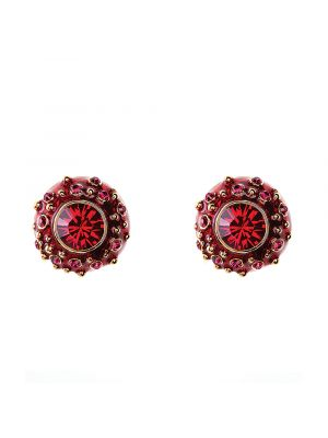 Coral Crystal And Enamel Stud Earring - Red