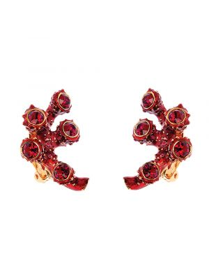 Coral Crystal And Enamel Small Branch Earring - Red
