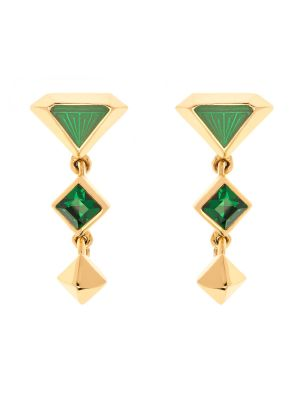Tamara Enamel Drop Earrings Green